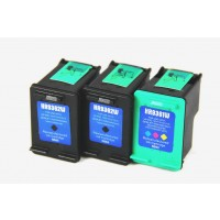 Remanufactured HP C9362WN (No. 92) black ink cartridge (2 pieces) and 1 HP C9361WN (No. 93) tri-color ink cartridge (1 piece)