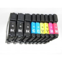 Compatible Brother LC65BK, LC65C, LC65M, LC65Y high yield ink cartridges (3 black, 2 cyan, 2 magenta, 2 yellow) value pack
