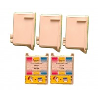Remanufactured Epson T007201 black (3 pieces) and T008201 color (2 pieces) inkjet cartridges