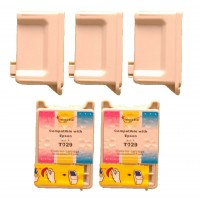 Remanufactured Epson T028201 black (3 pieces) and T029201 color (2 pieces) inkjet cartridges