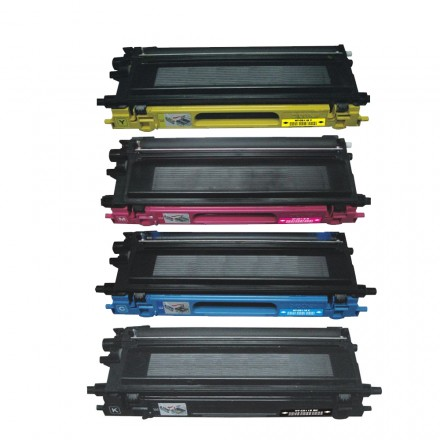 Remanufactured Brother TN115BK, TN115C, TN115M, TN115Y high yield laser toner cartridges (1 black, 1 cyan, 1 magenta, 1 yellow) value pack