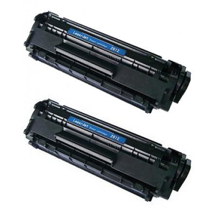 Compatible HP Q2612A (HP 12A) black laser toner cartridge (2 pieces)