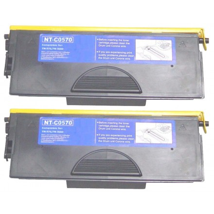 Compatible Brother TN570 high yield black laser toner cartridge - twin pack (2)