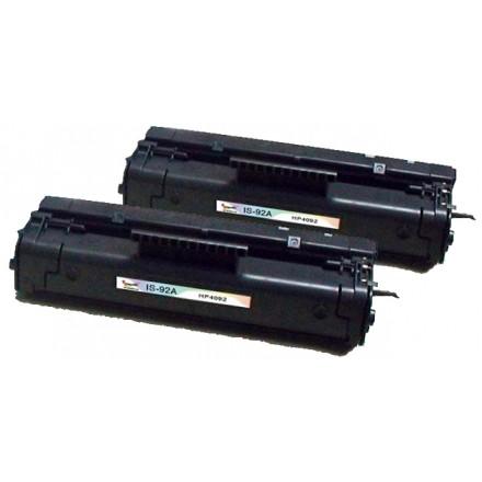 Remanufactured HP C4092A (HP 92A) black laser toner cartridge (2 pieces)