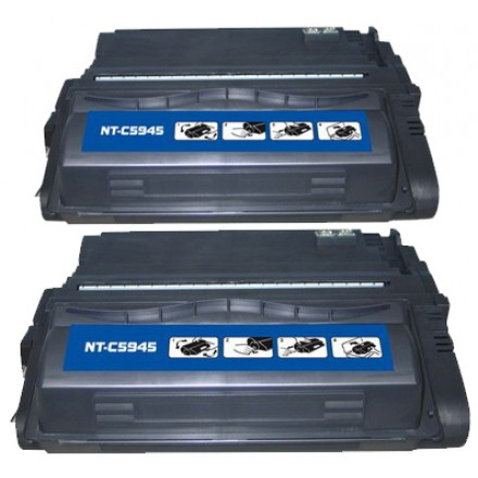 Remanufactured HP Q5945A (HP 45A) black laser toner cartridge (2 pieces)