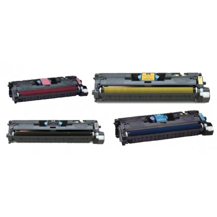 Remanufactured HP laser toner cartridges: 1 HP C9700A black, 1 HP C9701A cyan, 1 HP C9702A yellow and 1 HP C9703A  magenta
