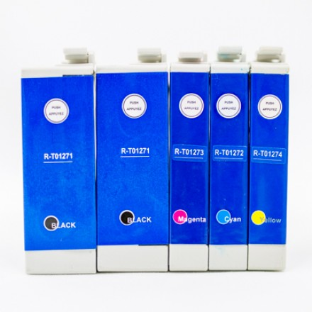 Remanufactured Epson high yield inkjet cartridges (2 T127120 black, 1 T127220 cyan, 1 T127320 magenta and 1 T127420 yellow)