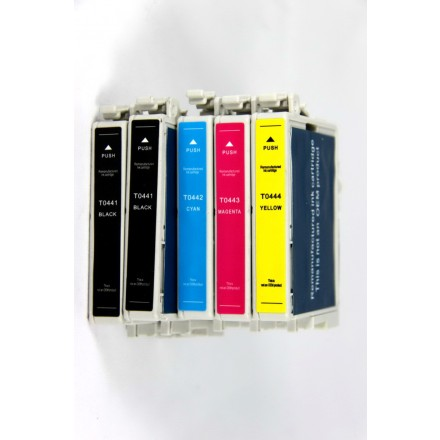 Remanufactured Epson inkjet cartridges (2 T044120 black,1 T044220 cyan, 1 T044320 magenta and 1 T044420 yellow)