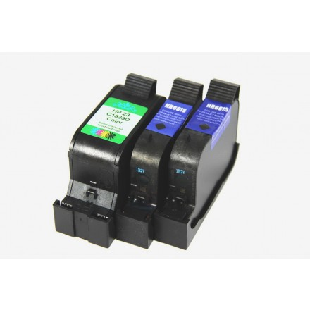 Remanufactured HP ink cartridges - C6615D (No. 15) black ink cartridge (2 pieces) and C1823 (No. 23) color ink cartridge (1 piece)