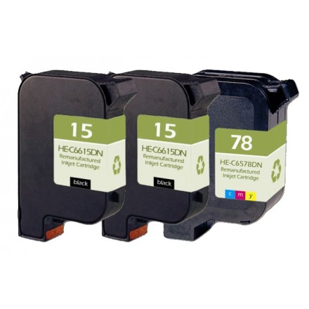Remanufactured HP ink cartridges - C6615D (No. 15) black ink cartridge (2 pieces) and C6578D (No. 78) color ink cartridge (1 piece)