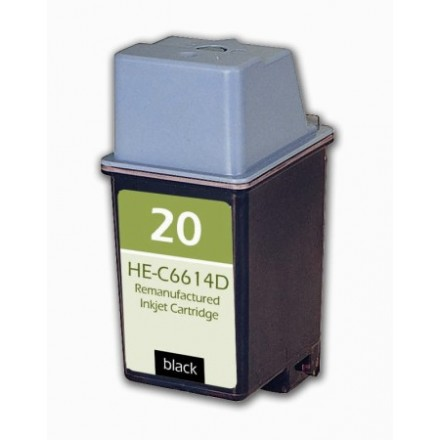 Remanufactured HP C6614A (No. 20) black ink cartridge