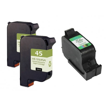 Remanufactured HP 51645A (No. 45) black ink cartridge (2 pieces) and C1823A (No. 23) color ink cartridge (1 piece)