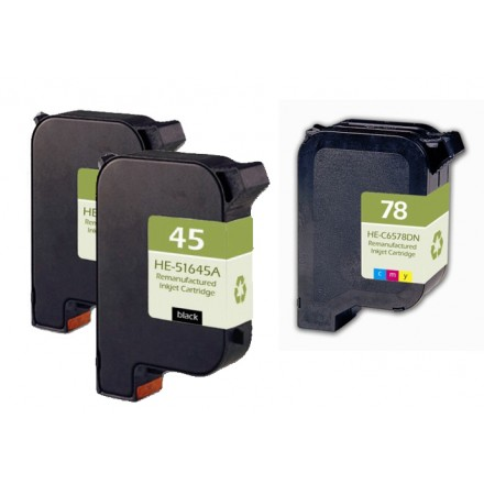Remanufactured HP 51645A (No. 45) black ink cartridge (2 pieces) and C6578D (No. 78) color ink cartridge (1 piece)