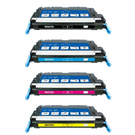 Remanufactured HP laser toner cartridges: 1 HP Q6470A black, 1 HP Q7581A cyan, 1 HP Q7582A yellow and 1 HP Q7583A magenta