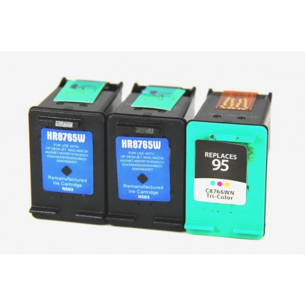 Remanufactured HP C8765 (No. 94) black ink cartridge (2 pieces) and C8766 (No. 95) color ink cartridge (1 piece)