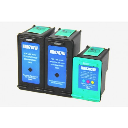 Remanufactured HP C8767 (No. 96) high yield black ink cartridge (2 pieces) and C9363 (No. 97) high yield color ink cartridge (1 piece)
