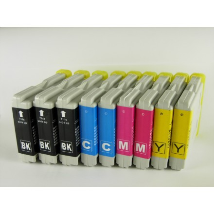 Compatible Brother LC51BK, LC51C, LC51M, LC51Y high yield ink cartridges (3 black, 2 cyan, 2 magenta, 2 yellow) value pack