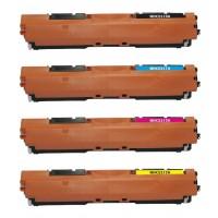 Compatible HP laser toner cartridges: 1 HP CF510A black, 1 HP CF511A cyan, 1 HP CF512A yellow and 1 HP CF513A magenta